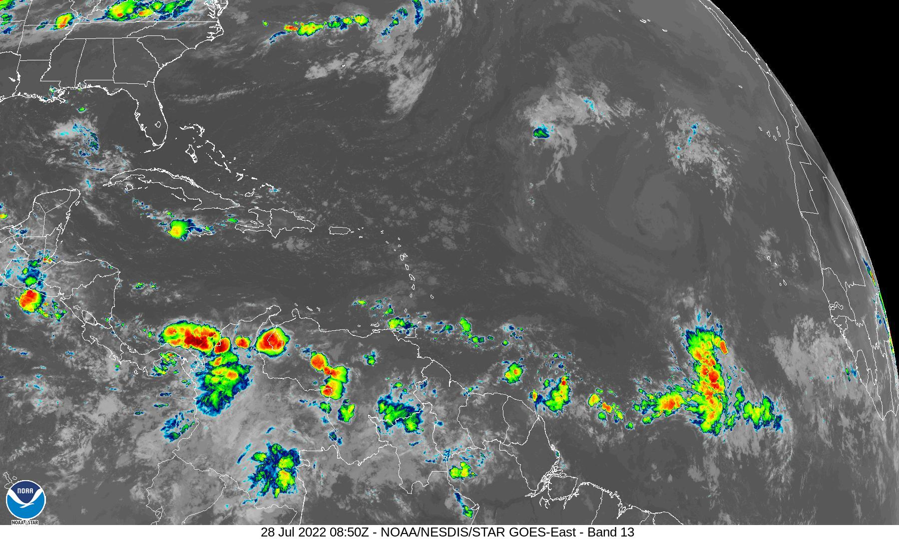GOES-East Band 13 Infrared image of the tropical Atlantic