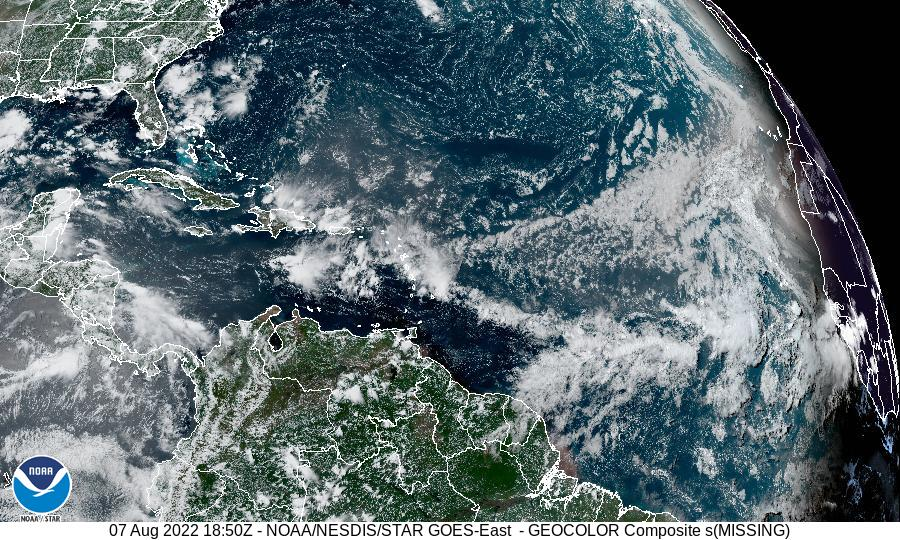 GOES-16 Tropical Atlantic - Wide GeoColor Satellite Image from STAR