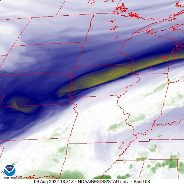 GOES-16 Upper Mississippi Valley Water Vapor Satellite Image from STAR