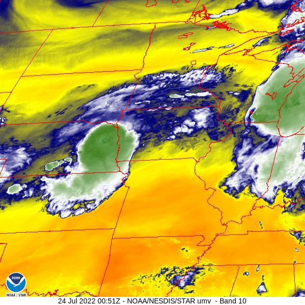 Central Plains Water Vapor Satellite Image