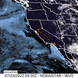 U.S. Pacific Coast GeoColor Satellite